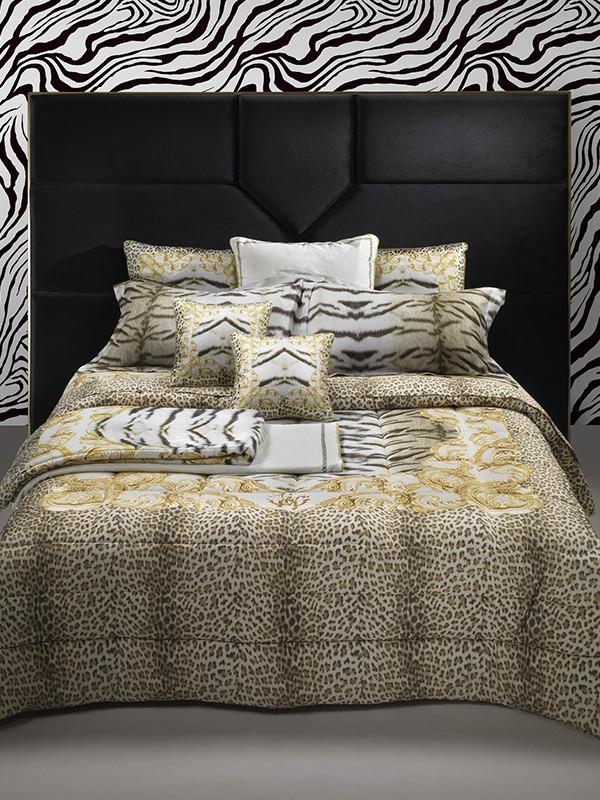 Completo Lenzuola Tiger Frame Matrimoniale Di Roberto Cavalli In Raso Di Cotone Gold Biancheria Per La Casa